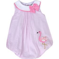 Baby Girls Striped Flamingo Bubble Romper