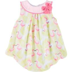 Baby Girls Chiffon Flamingo Bubble Romper