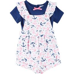 Baby Girls Anchor Shortalls Set