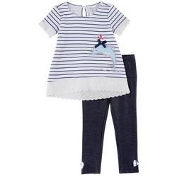 Toddler Girls Striped Dolphin Leggings Set