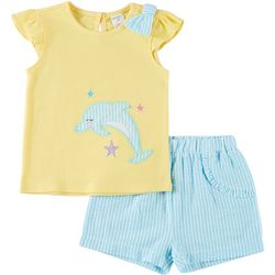 Toddler Girls Dolphin Top And Shorts Set
