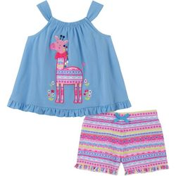 Kids Headquarters Baby Girls Giraffe Top & Shorts Set