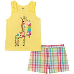 Kids Headquarters Baby Girls Giraffe Top & Plaid Shorts Set