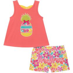 Kids Headquarters Baby Girls Pineapple Top & Shorts Set