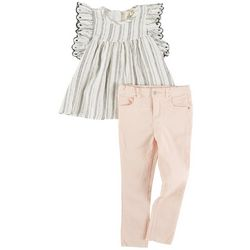 Jessica Simpson Toddler Girls 2-pc. Ruffle Stripe Pant Set