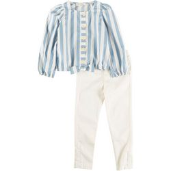 Jessica Simpson Toddler Girls 2-pc Stripe Tie Front Pant Set