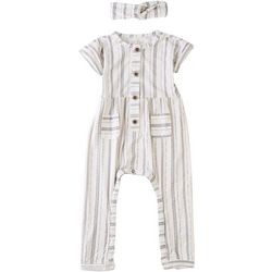 Jessica Simpson Baby Girls Vertical Stripe Romper
