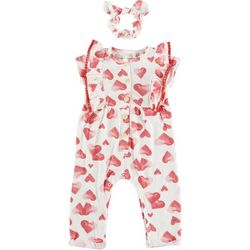 Jessica Simpson Baby Girls Heart Print Romper