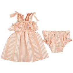 Jessica Simpson Baby Girls Striped Smocked Dress