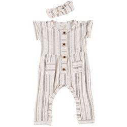 Jessica Simpson Baby Girls Vertical Stripe Romper