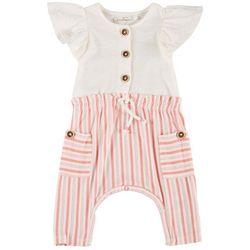 Jessica Simpson Baby Girls Ruffle Stripe Romper