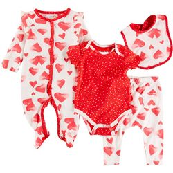 Jessica Simpson Baby Girls 4-pc. Heart Bodysuit Set