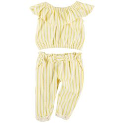 Jessica Simpson Baby Girls 2-pc. Ruffle Stripe Pant