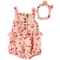 Jessica Simpson Baby Girls Cherry Print Romper