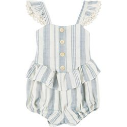 Jessica Simpson Baby Girls Striped Ruffle Romper