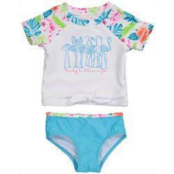 Tommy Bahama Baby Girls Flamingle Rashguard Swimsuit Set