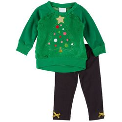 Nannette Baby Baby Girls Faux Fur Xmas Tree Leggings Set