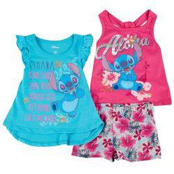 Disney Toddler Girls 3-pc. Stitch Ohana Short Set