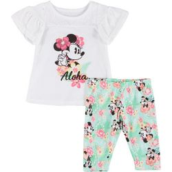 Disney Baby Girls 2-pc. Minnie Mouse Aloha Pant