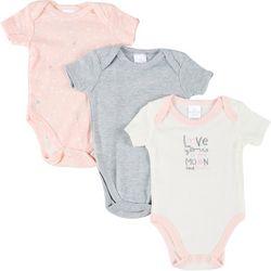 Little Beginnings Baby Girls 3-pk. Star Print Bodysuits