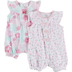 Little Beginnings Baby Girls 2-pk. Hibiscus Romper Set