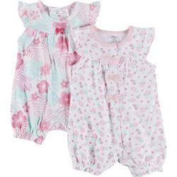 Little Beginnings Baby Girls 2-pk. Hibiscus Romper Set