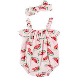 Baby Girls 2-pc. Watermelon Romper Set