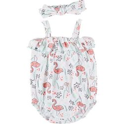 Little Beginnings Baby Girls 2-pc. Flamingo Romper Set