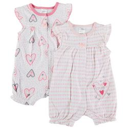 Little Beginnings Baby Girls 2-pk. Heart Romper Set