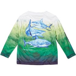 Reel Legends Toddler Boys Logo Shark Long Sleeve Shirt