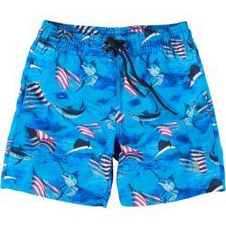 Reel Legends Toddler Boys Patriotic Marlin Swim Shorts