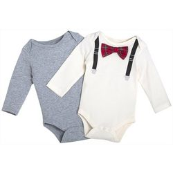 Chick Pea Baby Boys 2-pk. Graphic Suspenders Bodysuit Set
