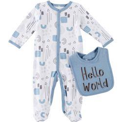 Baby Boys 2-pk. Hello World Footie Pajamas & Bib