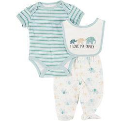 Baby Boys 3-pc. Elephant Bodysuit & Bib Set