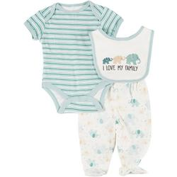 Baby Boys 3-pc. Elephant Bodysuit & Bib Set