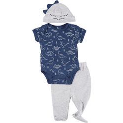 Baby Boys 3-pc. Dino Bodysuit & Hat Set