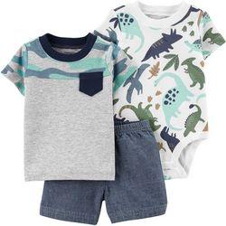 Carters Baby Boys 3-pc. Dino Short Set
