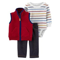 Baby Boys 3-pc. Quilted Vest Set