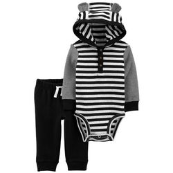 Baby Boys Stripe Hooded Bodysuit Set