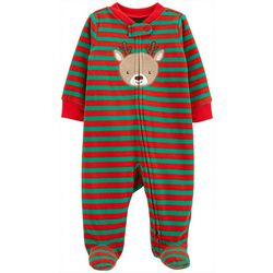 Baby Boys Long Sleeve Reindeer Zip Up Fleece Pajamas