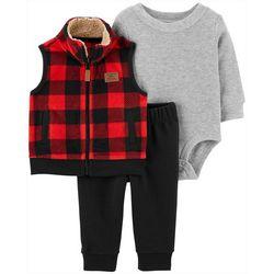 Baby Boys 3-pc. Plaid Vest Set