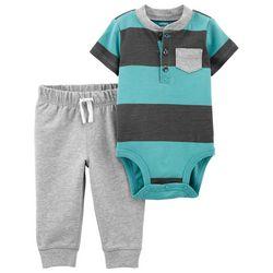 Carters Baby Boys Short Sleeve Colorblock Bodysuit Set
