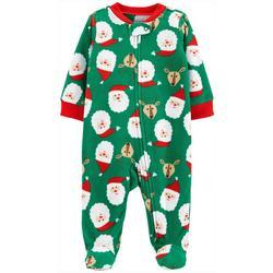 Baby Boys Long Sleeve Santa Zip Up Fleece Pajamas
