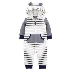 Baby Boys Stripe Hooded Jumpsuit