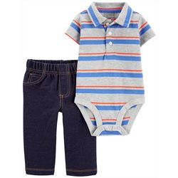 Carters Baby Boys Striped Polo Bodysuit Set