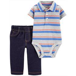 Baby Boys Striped Polo Bodysuit Set