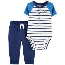 Baby Boys Short Sleeve Striped Bodysuit Set