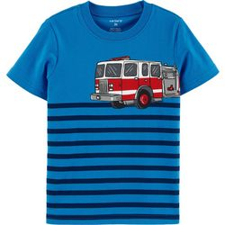 Toddler Boys Striped Firetruck T-Shirt