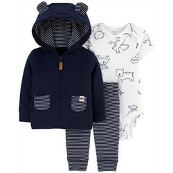 Carters Baby Boys 3-pc. Stripe Jacket Layette Set