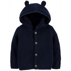 Carters Baby Boys Solid Hooded Cardigan